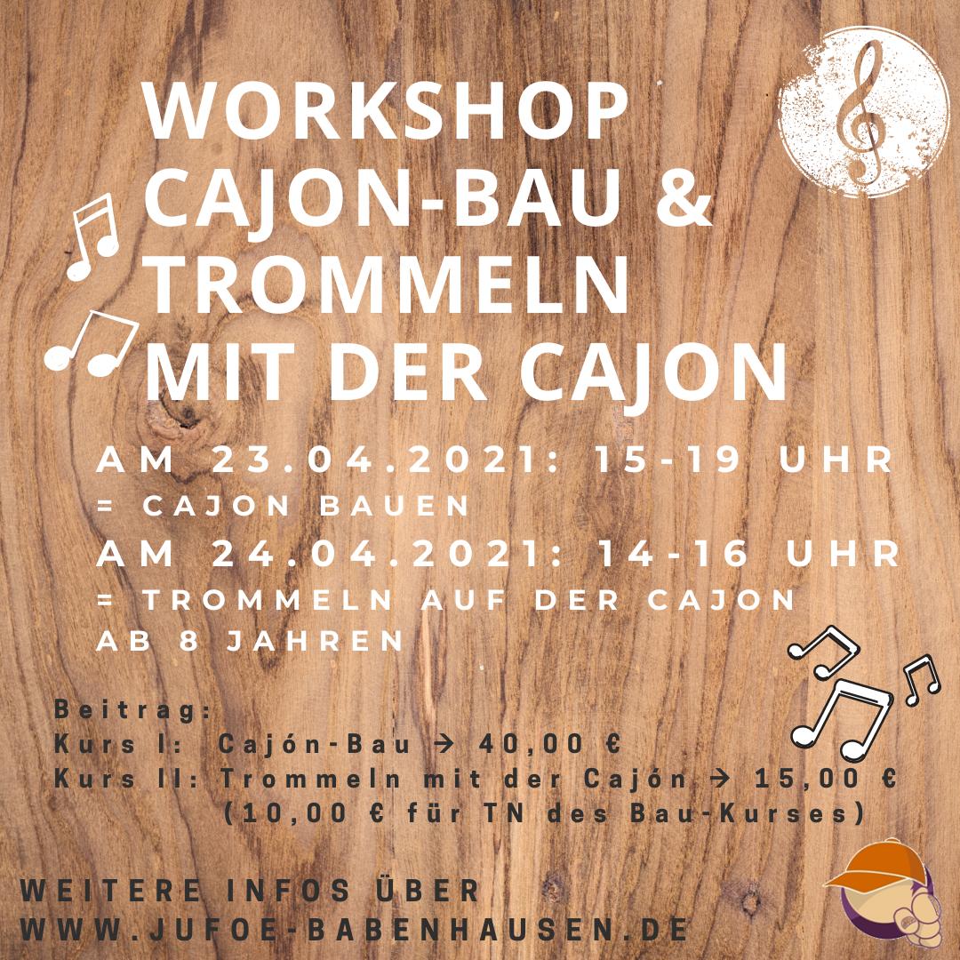 """Am Freitag, 23. April bietet die Kinder- und Jugendförderung von 15.00 Uhr bis 19.00 Uhr einen """"Cajón-Bau-Kurs"""" für Kinder und Jugendliche ab acht Jahren an. Dabei erstellt jede/r Teilnehmer*in aus einem vorgefertigten Bausatz seine eigene """"Kistentrommel"""", die im Anschluss natürlich mit nach Hause genommen werden darf. Die Cajón (""""Kachon"""" gesprochen), ist ein Rhythmusinstrument aus Holz […]"""