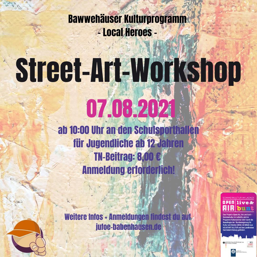 """Am Samstag, 07.08.2021 wird es mit der Kinder- und Jugendförderung wieder kreativ und bunt! Nach dem erfolgreichen Graffiti-Workshop an der """"kleinen Unterführung"""" im August 2020, wird es nun einen weiteren """"Street-Art-Workshop"""" an der Schulsporthalle (Bgm.-Willandstraße 1) in Babenhausen geben. Dieser ist Bestandteil des diesjährigen Kulturprogramms """"Local Heroes"""". Geleitet wird der Workshop von den """"Kunstköpfen"""". Ab […]"""